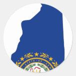 Mapa de la bandera de New Hampshire Pegatinas Redondas