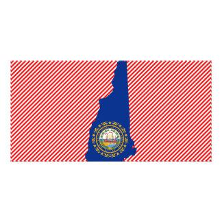 Mapa de la bandera de New Hampshire Tarjeta Fotografica