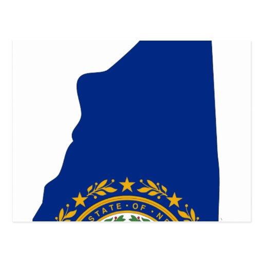 Mapa de la bandera de New Hampshire Tarjeta Postal