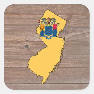 Mapa de la bandera de New Jersey del equipo en la Pegatina Cuadrada