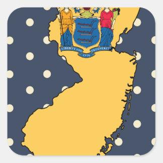 Mapa de la bandera de New Jersey en lunares Pegatina Cuadrada