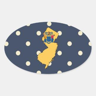 Mapa de la bandera de New Jersey en lunares Pegatina Ovalada