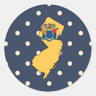 Mapa de la bandera de New Jersey en lunares Pegatina Redonda