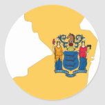 Mapa de la bandera de New Jersey Etiquetas Redondas