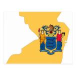 Mapa de la bandera de New Jersey Tarjeta Postal