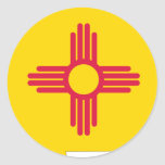 Mapa de la bandera de New México Pegatina Redonda