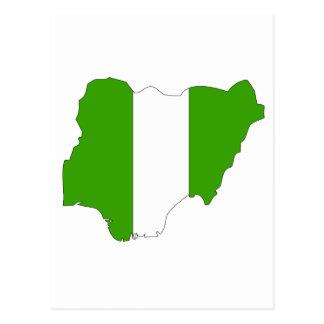 Mapa de la bandera de Nigeria Tarjeta Postal