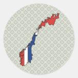 Mapa de la bandera de Noruega del mismo tamaño Etiqueta Redonda