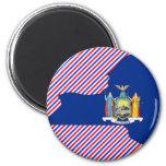 Mapa de la bandera de Nueva York Imanes De Nevera