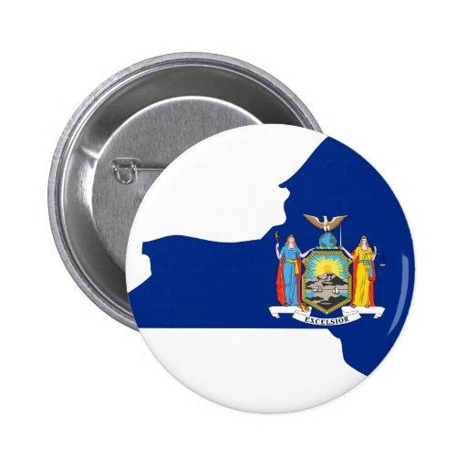 Mapa de la bandera de Nueva York Pin Redondo 5 Cm