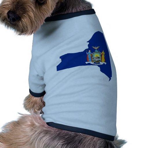 Mapa de la bandera de Nueva York Camiseta Con Mangas Para Perro