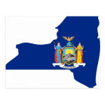 Mapa de la bandera de Nueva York Tarjetas Postales