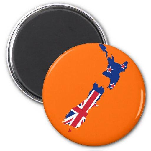 Mapa de la bandera de Nueva Zelanda Imán Redondo 5 Cm