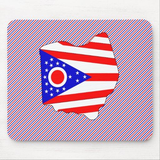 Mapa de la bandera de Ohio Alfombrilla De Raton