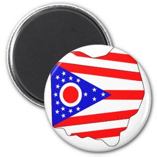 Mapa de la bandera de Ohio Iman Para Frigorífico