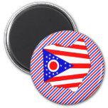 Mapa de la bandera de Ohio Imanes Para Frigoríficos