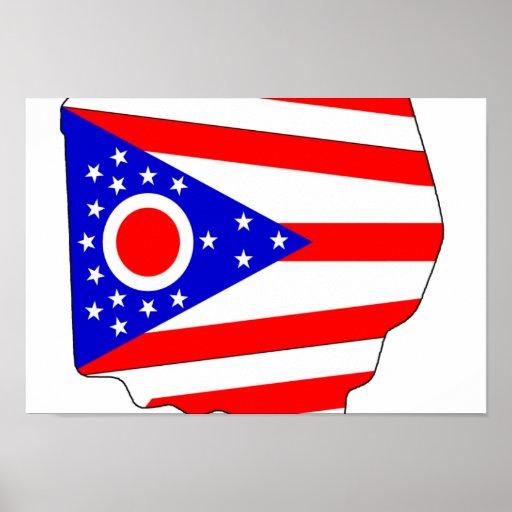 Mapa de la bandera de Ohio Impresiones