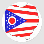 Mapa de la bandera de Ohio Pegatina Redonda