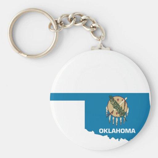 Mapa de la bandera de Oklahoma Llavero Redondo Tipo Pin