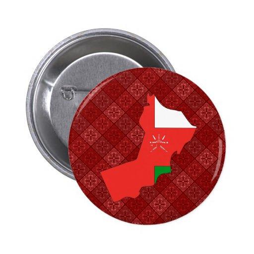 Mapa de la bandera de Omán del mismo tamaño Pin Redondo 5 Cm