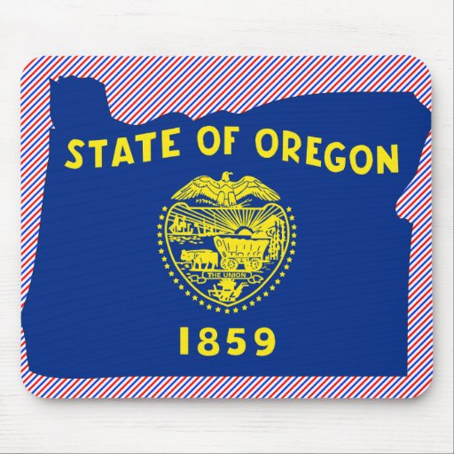 Mapa de la bandera de Oregon Tapete De Ratones