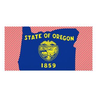 Mapa de la bandera de Oregon Tarjetas Con Fotos Personalizadas