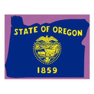 Mapa de la bandera de Oregon Tarjetas Postales