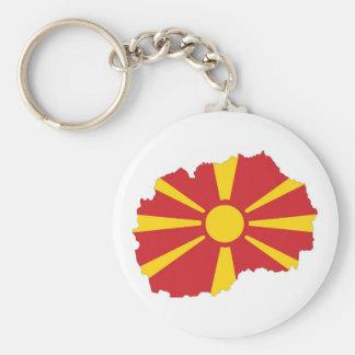 mapa de la bandera de país de Macedonia Llavero Redondo Tipo Chapa