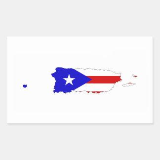 mapa de la bandera de país de Puerto Rico Pegatina Rectangular