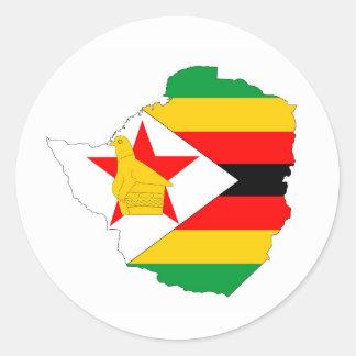mapa de la bandera de país de Zimbabwe Pegatina Redonda