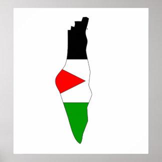 Mapa de la bandera de Palestina del mismo tamaño Póster