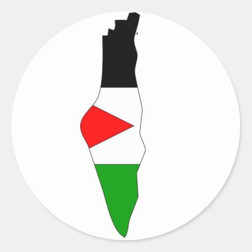 Mapa de la bandera de Palestina Pegatina Redonda