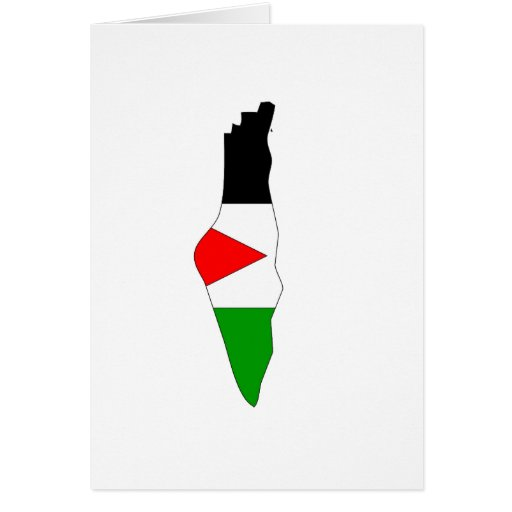 Mapa de la bandera de Palestina Tarjetón
