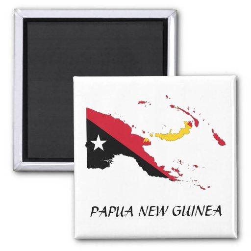 Mapa de la bandera de Papua NewGuine Imanes