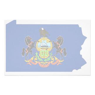 Mapa de la bandera de Pennsylvania Papeleria Personalizada