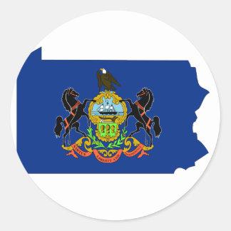 Mapa de la bandera de Pennsylvania Pegatina Redonda