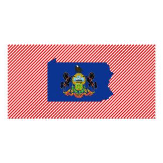 Mapa de la bandera de Pennsylvania Tarjeta Con Foto Personalizada