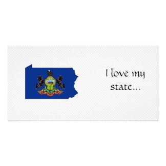 Mapa de la bandera de Pennsylvania Tarjetas Fotograficas Personalizadas