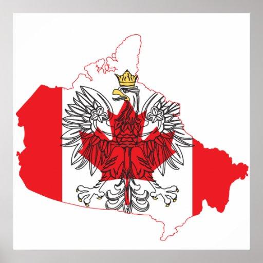 Mapa de la bandera de Polonia Canadá Póster