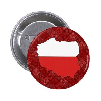 Mapa de la bandera de Polonia del mismo tamaño Pin Redondo De 2 Pulgadas