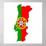 Mapa de la bandera de Portugal del mismo tamaño Posters