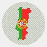 Mapa de la bandera de Portugal del mismo tamaño Pegatina Redonda