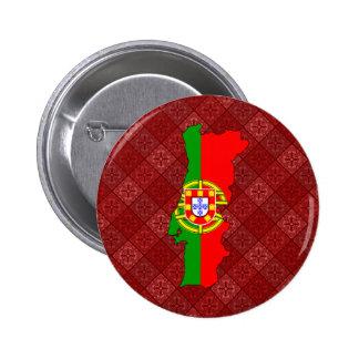 Mapa de la bandera de Portugal del mismo tamaño Pin Redondo De 2 Pulgadas