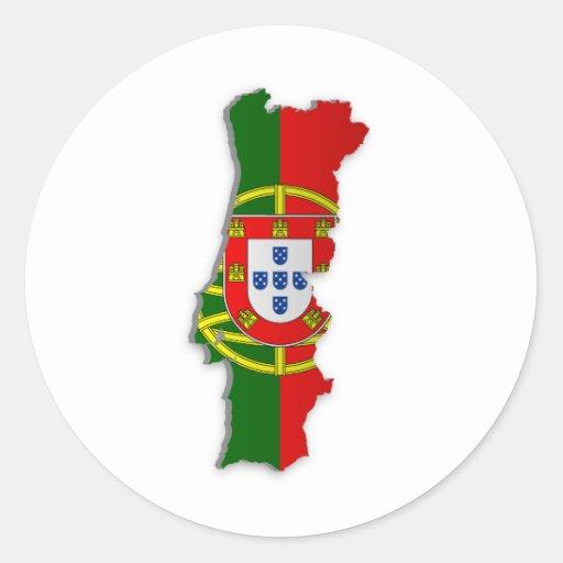 Mapa de la bandera de Portugal Etiqueta Redonda