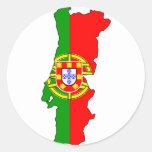 Mapa de la bandera de Portugal Pegatina Redonda