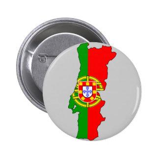 Mapa de la bandera de Portugal Pin Redondo De 2 Pulgadas