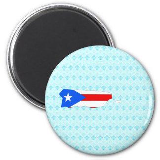 Mapa de la bandera de Puerto Rico del mismo tamaño Imán Redondo 5 Cm