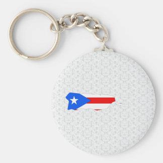Mapa de la bandera de Puerto Rico del mismo tamaño Llavero Redondo Tipo Pin