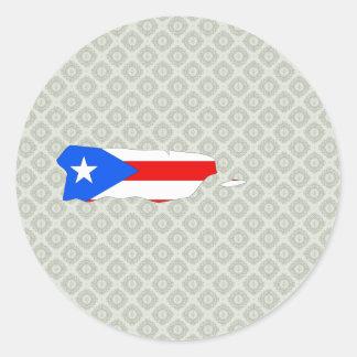 Mapa de la bandera de Puerto Rico del mismo tamaño Pegatina Redonda