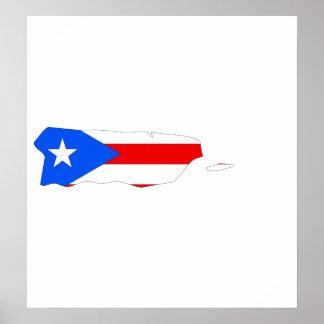 Mapa de la bandera de Puerto Rico del mismo tamaño Póster